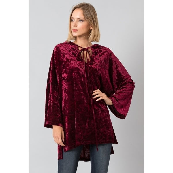 JED Women's Loose Fit Crushed Velvet Hoodie Tunic Top 32744020