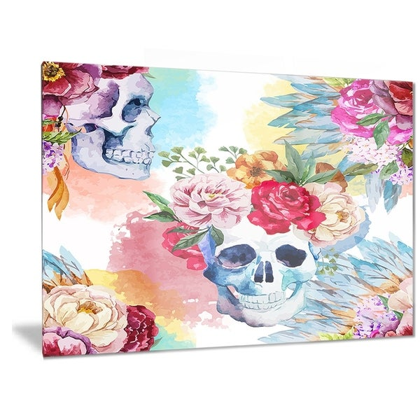 Designart 'Ethnic Skull with Flowers' Floral Metal Wall Art 32751297