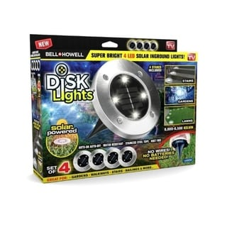 Bell Howell Disk Lights Solar Powered LED Outdoor Lights - 4 lights