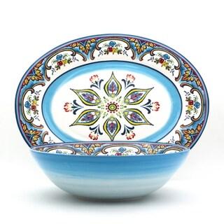 "Euro Ceramica Zanzibar 18"" Oval Platter and Bowl Serving Set"