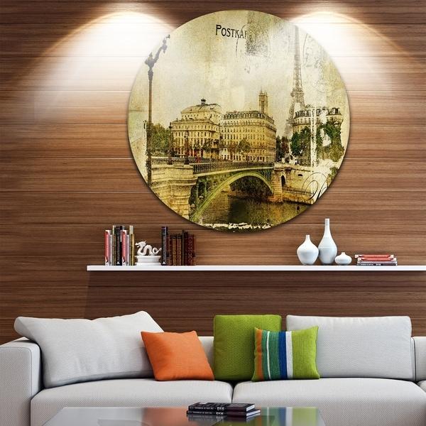Designart 'Vintage Paris' Digital Art Cityscape Disc Metal Artwork 32780196