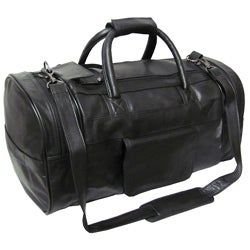 Amerileather Black Leather 21-inch Carry On Dual-zippered Duffel