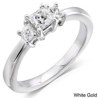 Annello by Kobelli 14kt Gold 1/2ct TDW Princess Diamond 3-stone Ring