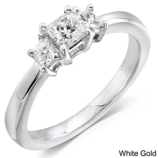 Annello 14kt Gold 1/2ct TDW Princess Diamond 3-stone Ring (H-I,SI1- SI2)