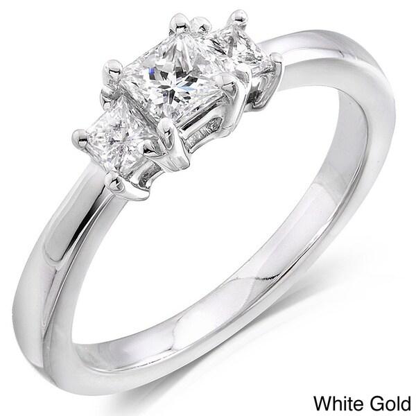 Annello 14kt Gold 1/2ct TDW Princess Diamond 3-stone Ring (H-I,SI1- SI2)