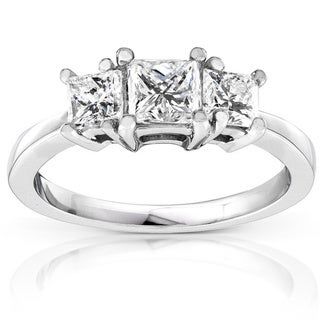 Annello 14k White Gold 1ct TDW Diamond Engagement Ring (H-I, SI1-SI2) with Bonus Item