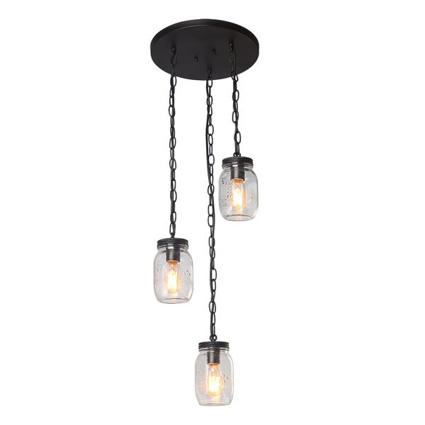 LNC 3-Light Chandelier Lighting Glass Jar Chandeliers Linear Kitchen Island Lighting 32835492