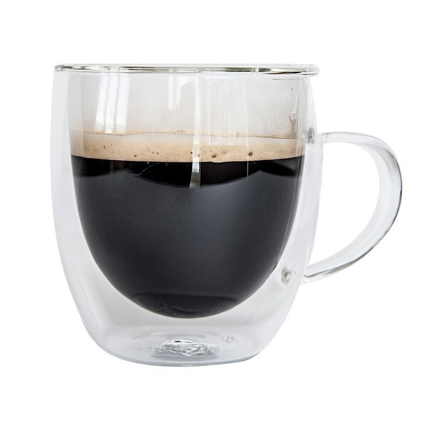 JavaFly Bistro Double Walled Thermo Borosilicate Glass Elegant Mugs with Handle (Set of 2) 32846091