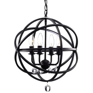 Silver Orchid Shearer Antique Black Metal 4-light Crystal Globe Chandelier