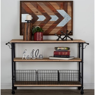 Carbon Loft Dolby Metal and Wood 3-basket Utility Cart