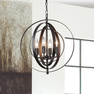 Copper Grove St. Mary Antique Black Iron 4-light Orb Chandelier