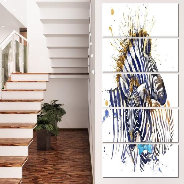 Designart 'Zebra Family Illustration Watercolor' Contemporary Animal Art Canvas 32897652