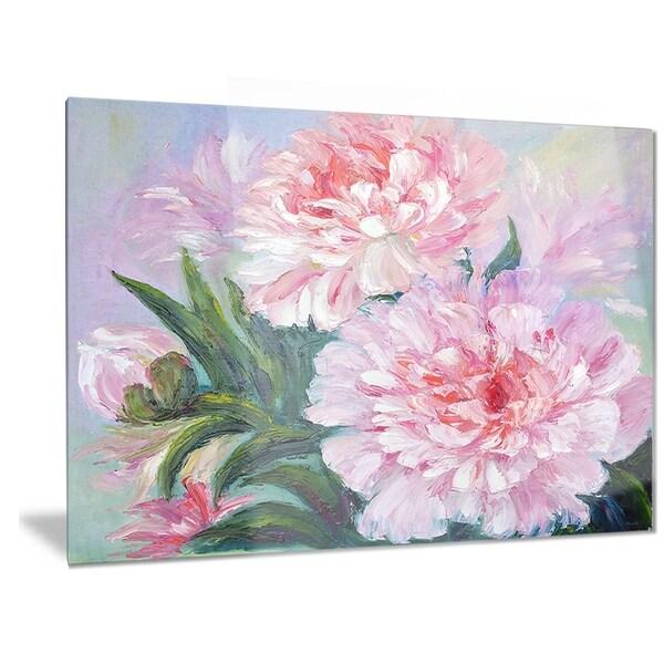 Designart 'Full Blown Peonies' Floral Metal Wall Art 32904828
