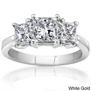 Annello 14k Gold 2ct TDW Three Stone Diamond Engagement Ring (H-I,SI1- SI2)