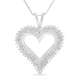".925 Sterling Silver 1 Cttw Diamond Heart 18"" Pendant Necklace (I-J, I2-I3)"