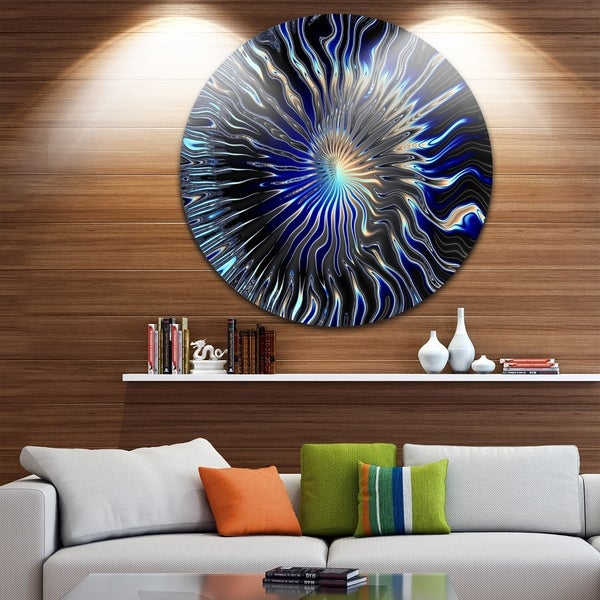 Designart 'Blue Rays from the Circle' Abstract Art Large Disc Metal Wall art 32931647