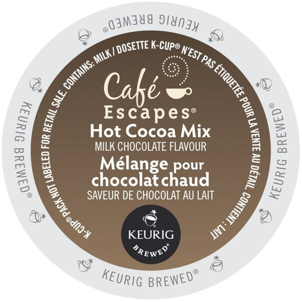 Cafe Escapes Milk Chocolate Hot Cocoa, K-Cups for Keurig Brewers 96 Count 32932440