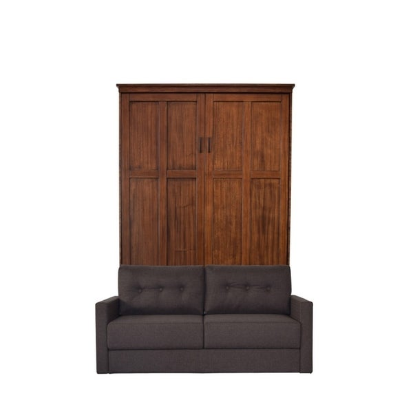 Queen Cardiff Sofa-Murphy Bed in Chestnut Finish and Scotts Highland Fabric