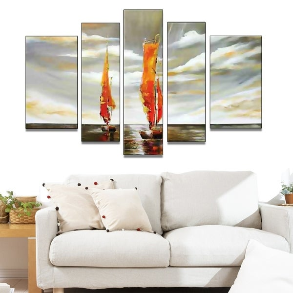 Abstract Sailing Hand-painted 5-piece Oil Painting 32940572