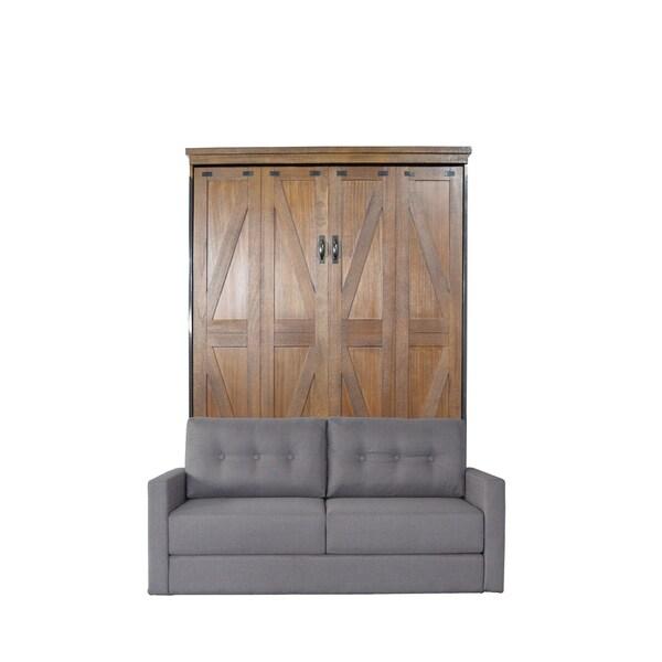 RoomAndLoft Steeplechase Cappuccino Finish/Heather Tweed Fabric Queen Sofa-Murphy Bed