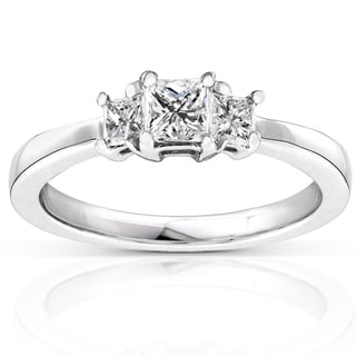 Annello 14k Gold 1/2ct TDW Princess Diamond 3-stone Ring (H-I, I1-I2)