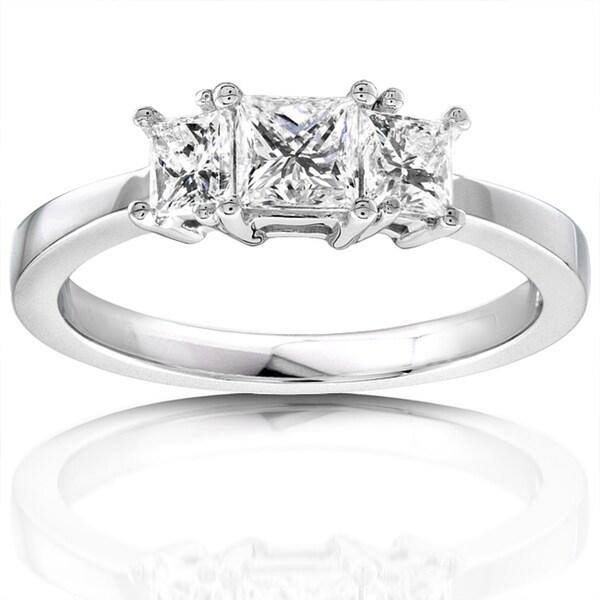 Annello 14k Gold 3/4ct TDW Diamond 3-stone Engagement Ring (H-I, I1-I2)