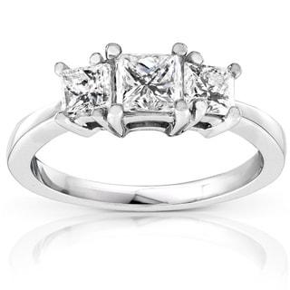 Annello 14k Gold 1ct Princess Diamond 3-stone Ring (H-I, I1-I2)