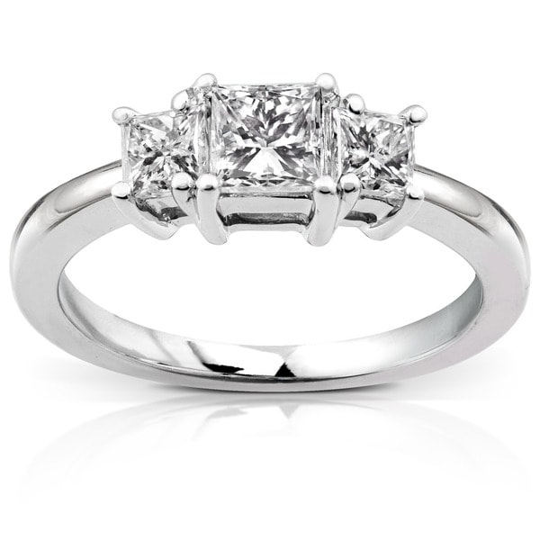 Annello 14k Gold 1ct Princess Diamond 3-stone Ring (H-I, I1-I2)