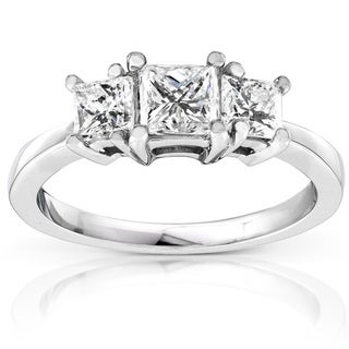 Annello Platinum 1ct TDW Princess Diamond 3-stone Ring (H-I, SI1-SI2)