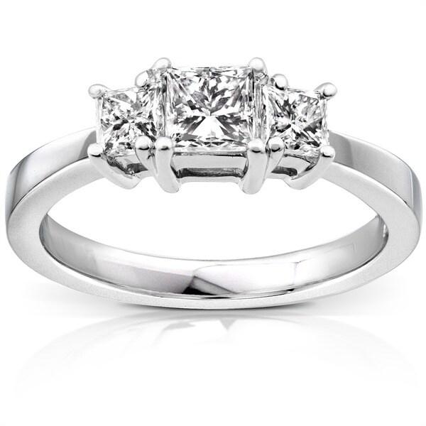 Annello Platinum 1ct TDW Princess Diamond 3-stone Ring (H-I, SI1-SI2)