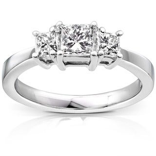 Annello Platinum 1ct TDW Princess Diamond 3-stone Ring (H-I, SI1-SI2) with Bonus Item
