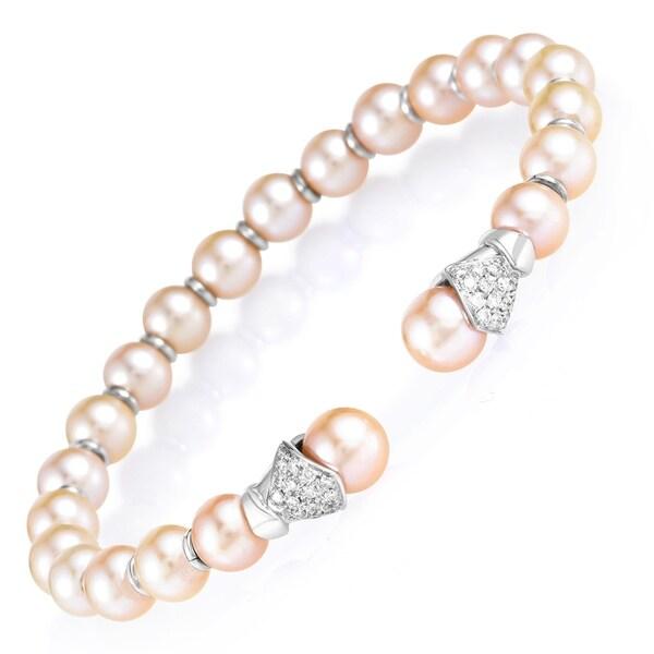 Women's 18K White Gold Diamond & Pearl Bangle Cuff Bracelet 32968231