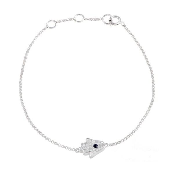 18K White Gold Diamond Pave and Sapphire Small Hamsa Bracelet 32968320