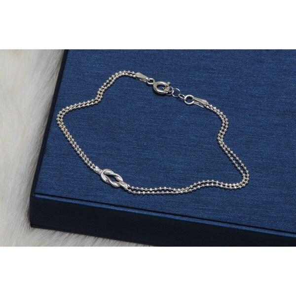Pori Jewelers Sterling Silver 2-layered Diamond-cut Bead Chain Love Knot Bracelet - White 32969206