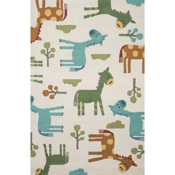 Hand-hooked Multi-color Playful Giraffe Kids Rug (3'6 x 5'6)