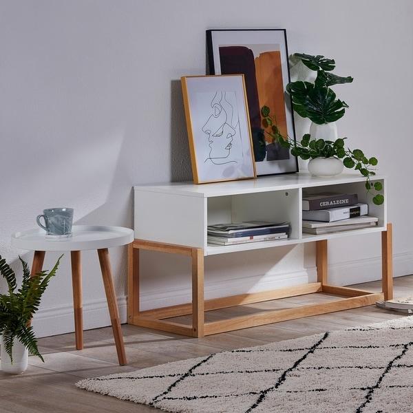 Versanora - Creativo Stylish TV Stand - White/Natural 32993047