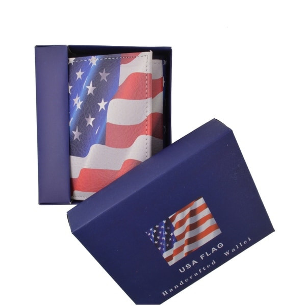 AFONiE Handcarfted USA Flag Print Leather Trifold  Wallet 32997445