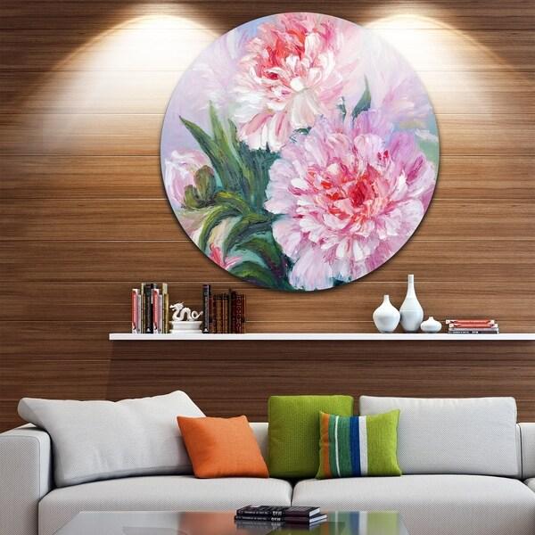 Designart 'Full Blown Peonies' Floral Glossy Metal Wall Art 33005367