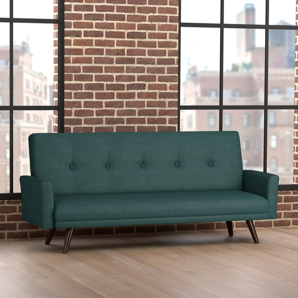 Handy Living Milliken Click Clack Peacock Blue Futon Sleeper Sofa