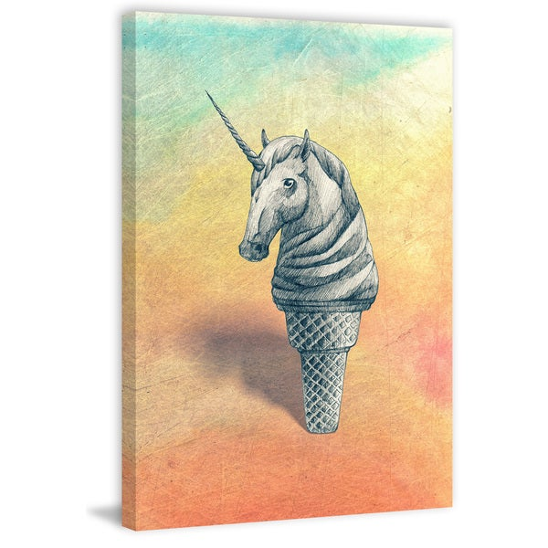 'Unicorn Ice Cream II' Painting Print on Wrapped Canvas 33038236
