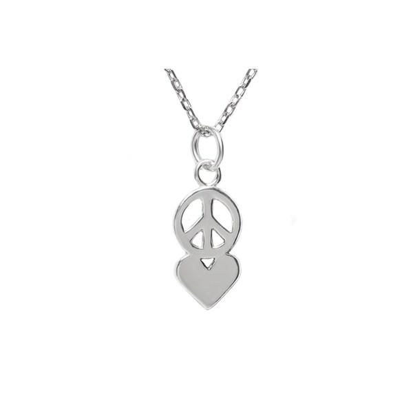 Pori Jewelers Sterling Silver Peace & Love Pendant Necklace 33038530