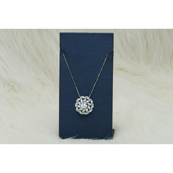 Pori Jewelers Rhodium ptd Sterling Silver Pendant necklace wCrystals bySwarovski Elements 33038562