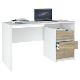 Porch & Den Skylar White and Oak 3-drawer Rectangular Desk