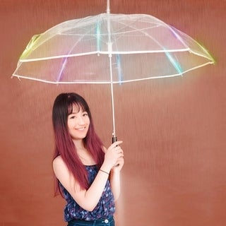 LED Color Changing Clear Umbrella with Flashlight - Light up the Night with this See Thru Rain Blocker