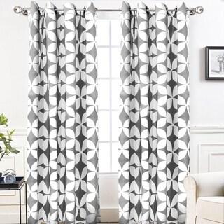 "DriftAway Amelia Geo Thermal Insulated Blackout Grommet Window Curtain Panel Pair - 52"" width x 84 "" length"