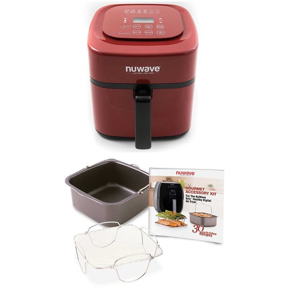 Nuwave 6 qt. Brio Air Fryer (Red) w/ 4 pc. Gourmet Accessory Kit 33039523