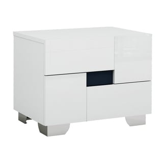 Aria Contemporary White 2 Drawer Nightstand