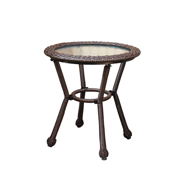 Resin wicker side table with 5MM tempered glass 33051089