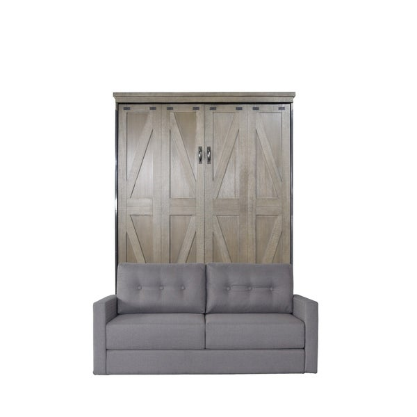 Queen Steeplechase Sofa-Murphy Bed in Dove Gray Finish and Heather Tweed Fabric