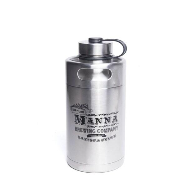 "Manna  Silver  Stainless Steel  ""Manna Brewing Co.""  Keg Growler Water Bottle  BPA Free 64 oz. 33070631"